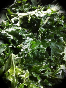 kale chips ready to go in the oven