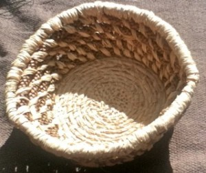 A Norfolk Pine-Needle Coiled Basket made by Cynamon