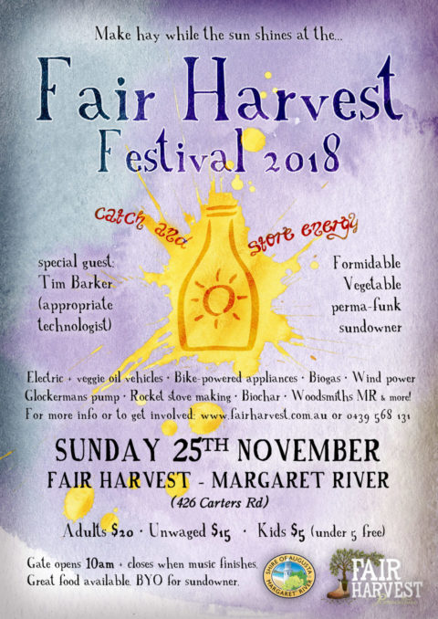 """Fair Harvest Festival and Charlie Mgee Sundowner 25th November 2018 """"Catch and Store Energy"""""""