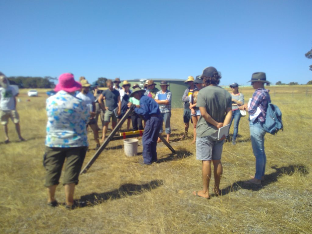 Group of people using an a-frame level to measure contours on a site